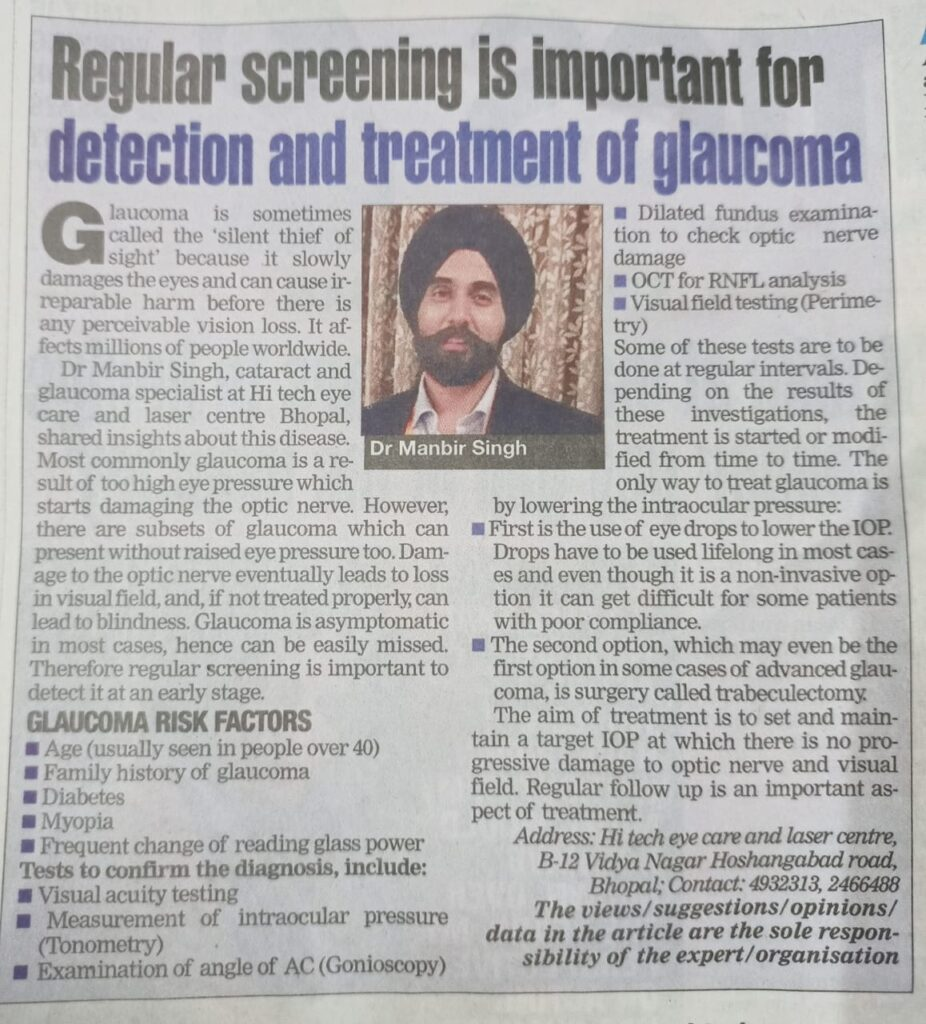 Article about Glaucoma awareness in Times of India Bhopal Times today.
